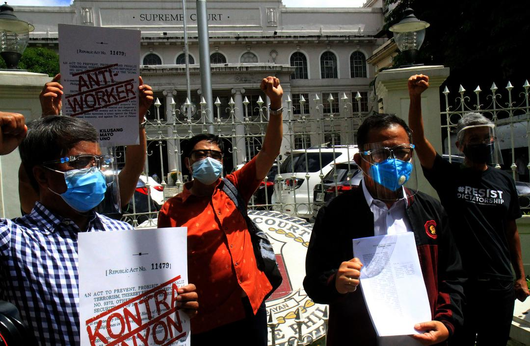 Labor orgs file petition with SC for the repel of anti-terror law