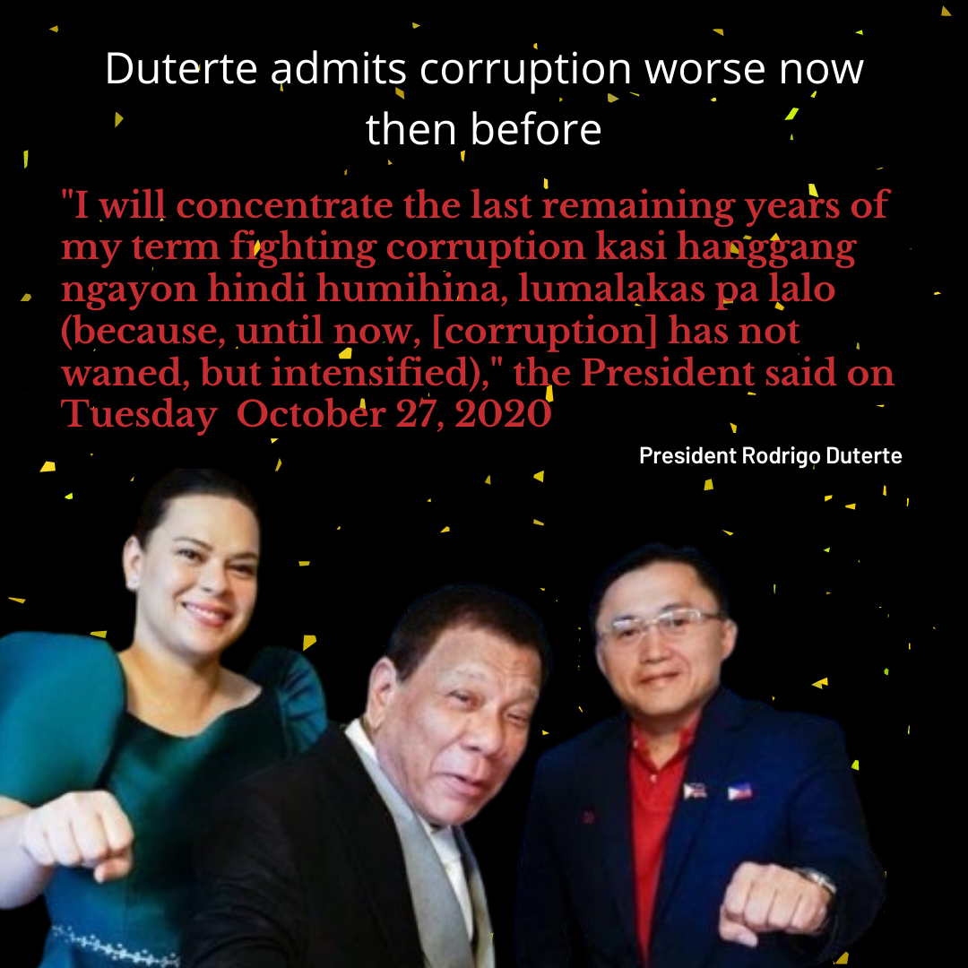 Duterte admits Philippine Corruption is worse now then ever before