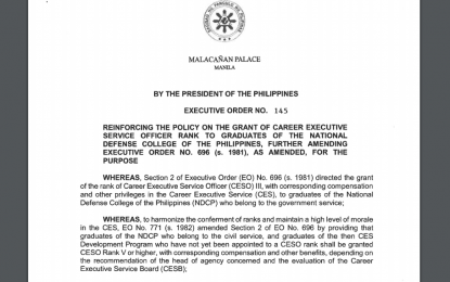EO updates policy on grant of CESO rank to NDCP grads