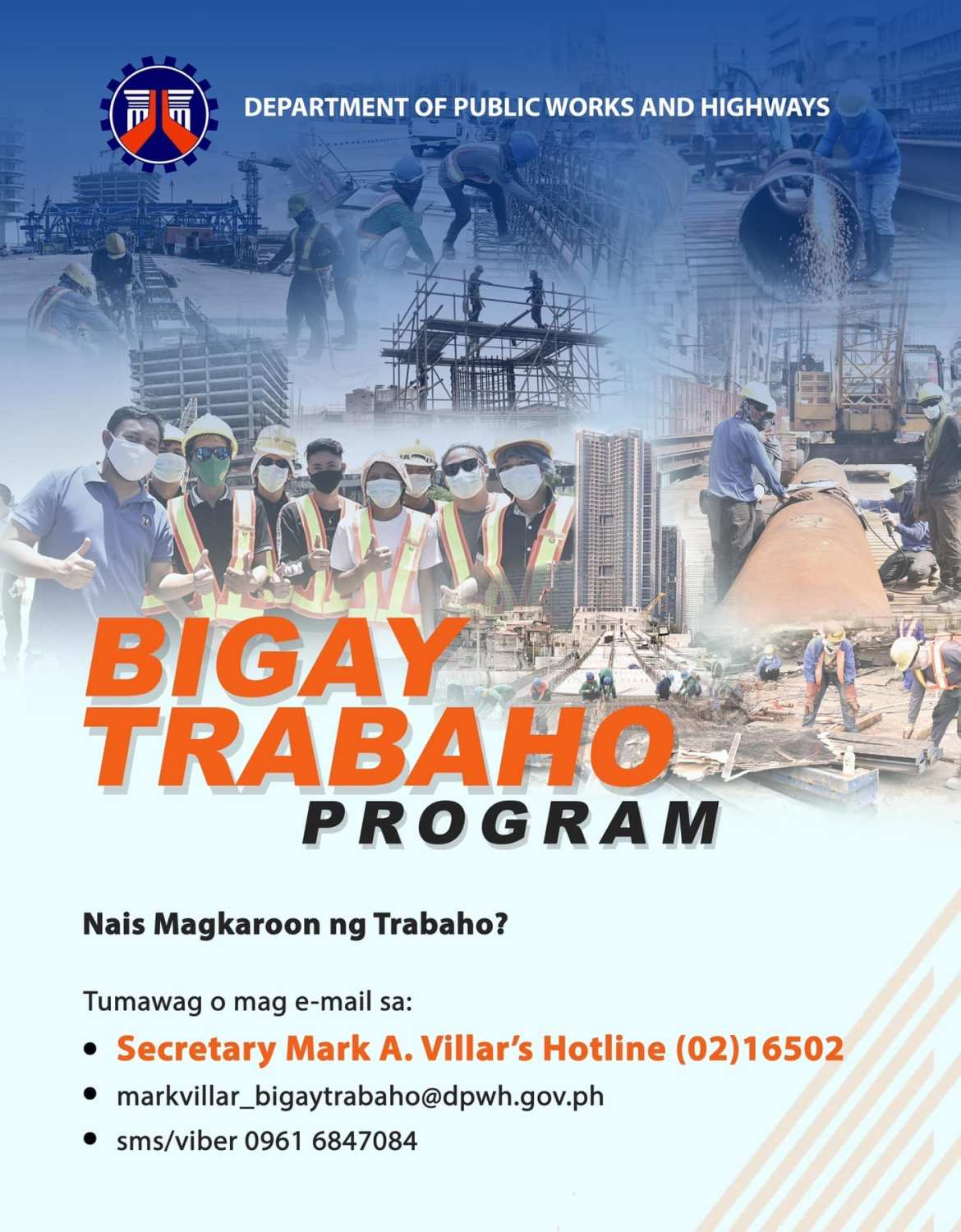 DPWH's 'Bigay Trabaho' provides more than 1K jobs in 1 monthBy Glen S. Ramos