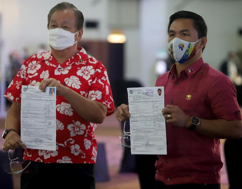 Pacquiao-Atienza tandem beat all comers in filing COCs for prexy, veep