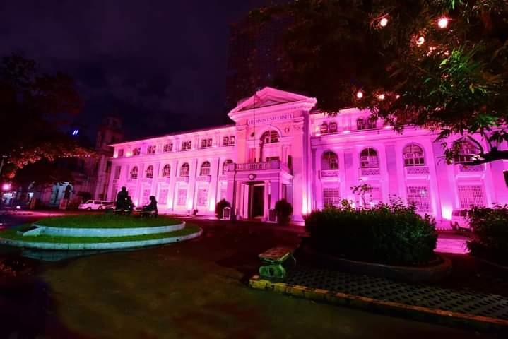 Adamson U is ablaze in pink-colored lights, reflective of support to VP Leni's candidacy