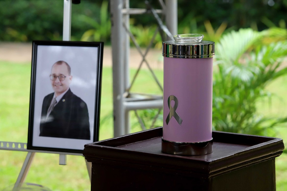 Urn containing remains of human rights chief Chito Gascon on display at CHR grounds